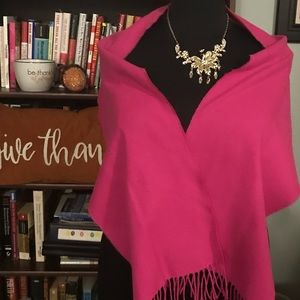 Softer Than Cashmere Hot Pink Scarf with fringe
